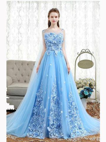Chic A-line Scoop Blue Sweep Train Tulle Applique Modest Prom Dress Evening Dress AM449