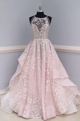Chic A-line Spaghetti Straps Pearl Pink Organza Lace Modest Prom Dress Evening Dress AM451