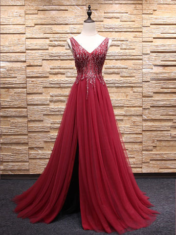 Chic A-line V-neck Burgundy Tulle Rhinestone Modest Prom Dress Evening Dress AM452