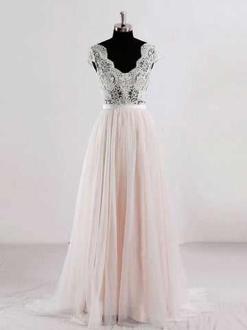 Chic A-line V-neck Pearl Pink Chiffon Lace Modest Prom Dress Wedding Dress AM453