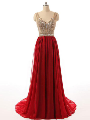 Chic A-line Straps Red Chiffon Beading Modest Prom Dress Evening Dress AM454