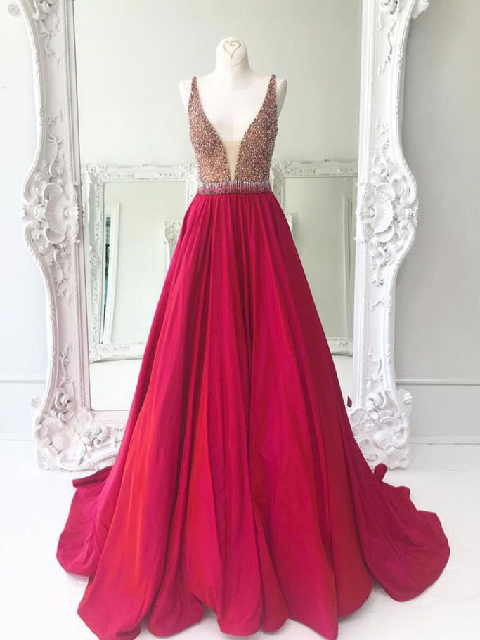 Chic A-line V-neck Red Satin Beading Modest Long Prom Dress Evening Dress AM456