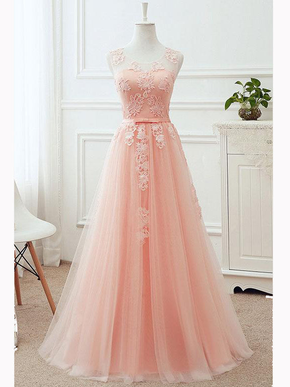 4e1c754415 Chic A-line Scoop Pearl Pink Tulle Applique Modest Prom Dress Evening Dress  AM457