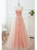 Chic A-line Scoop Pearl Pink Tulle Applique Modest Prom Dress Evening Dress AM457