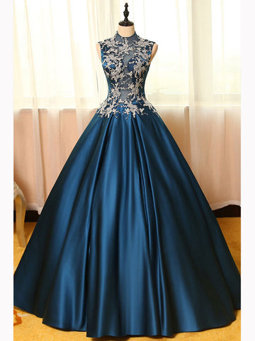 Chic A-line High Neck Dark Blue Satin Applique Modest Long Prom Dress Evening Dress AM459