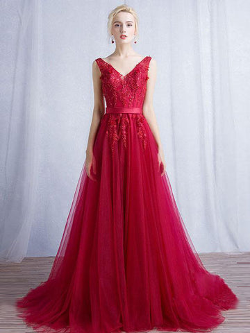 Chic A-line V-neck Burgundy Tulle Applique Modest Long Prom Dress Evening Dress AM461