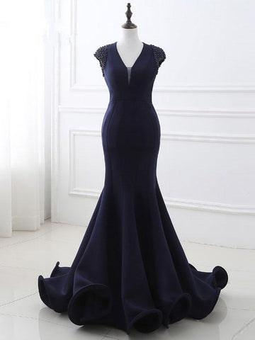 Chic Trumpet/Mermaid V-neck Dark Navy Satin Applique Simple Long Prom Dress Evening Dress AM462