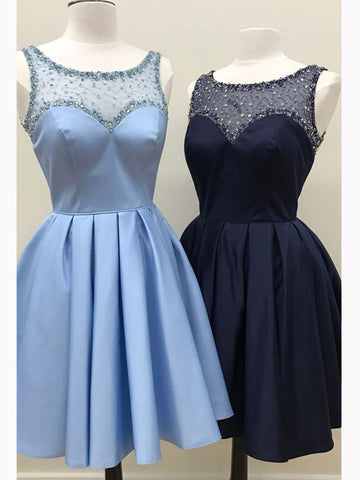Chic A-line Scoop Short Prom Dress Satin Blue Beading Homecoming Dress AM464