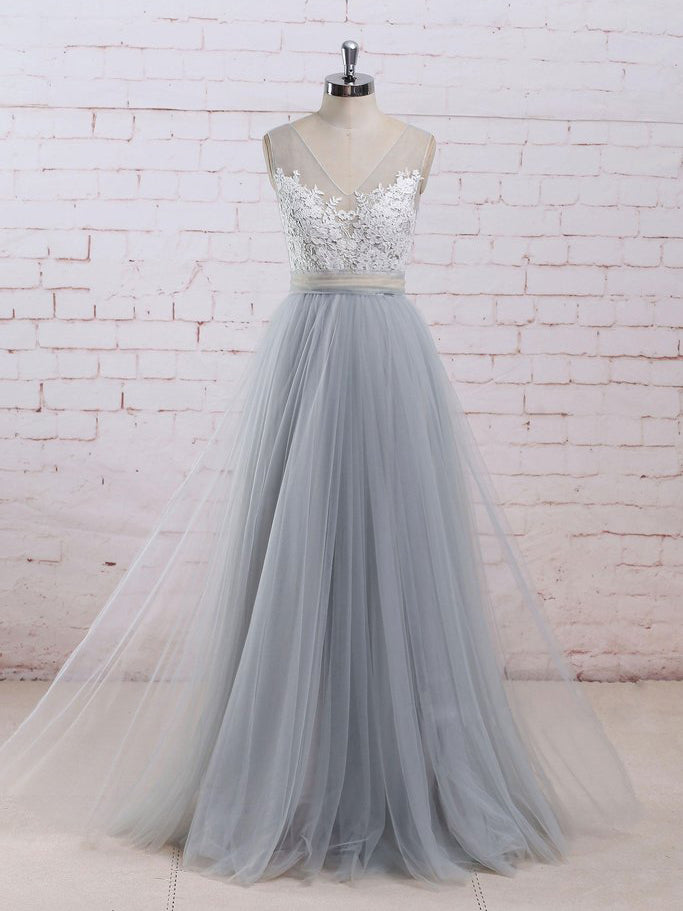 178d3a62246 Chic A-line V-neck Light Blue Tulle Applique Modest Long Prom Dress Bridal
