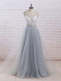 Chic A-line V-neck Light Blue Tulle Applique Modest Long Prom Dress Bridal Gowns AM465