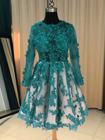 Chic A-line Scoop Short Prom Dress Tulle Dark Green Applqiue Homecoming Dress AM468