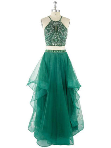 Chic Two Pieces Prom Dress A-line Green Tulle Beading Modest Evening Gowns AM471
