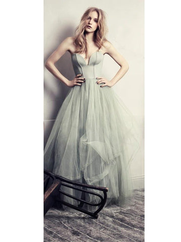 Chic A-line Sweetheart Green Tulle Simple Prom Dress Evening Dress AM472