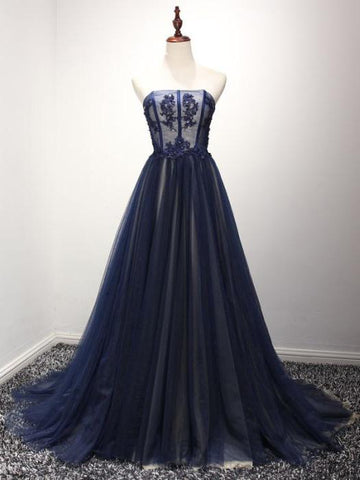 Chic A-line Strapless Dark Navy Tulle Simple Prom Dress Evening Dress AM474