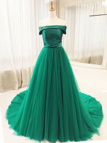 Chic A-line Off-the-shoulder Hunter Simple Long Prom Dress Evening Dress AM478