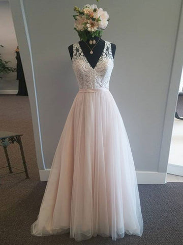 Chic A-line V-neck Pearl Pink Tulle Modest Lace Evening Dress Wedding Dress AM479
