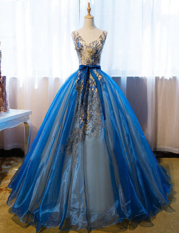 Chic A-line V-neck Blue Organza Applique Modest Prom Dress Evening Dress AM480