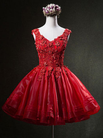 Chic A-line V-neck Short Prom Dress Organza Red Applqiue Homecoming Dress AM481
