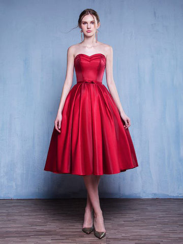 Chic A-line Sweetheart Modest Red Simple Tea Length Prom Dress Homecoming Dress AM486