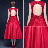Chic A-line Red Homecoming Dress V-neck Satin Simple Short Prom Dress AM487
