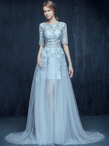 Chic A-line Prom Dress Bateau Ligh Blue Tulle Applique Half Sleeve Evening Dress AM488