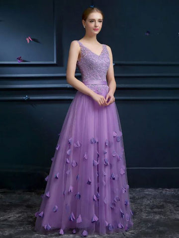 Chic A-line Prom Dress V-neck Lilac Tulle Applique Cheap Evening Dress AM489