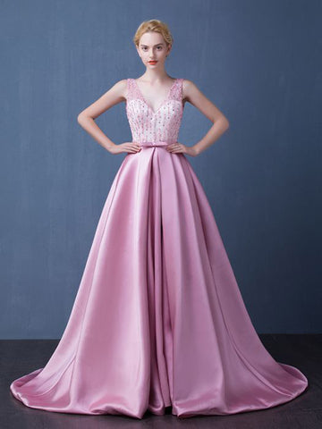 Chic A-line Pink Prom Dress V-neck Satin Beading Modest Evening Dress AM490