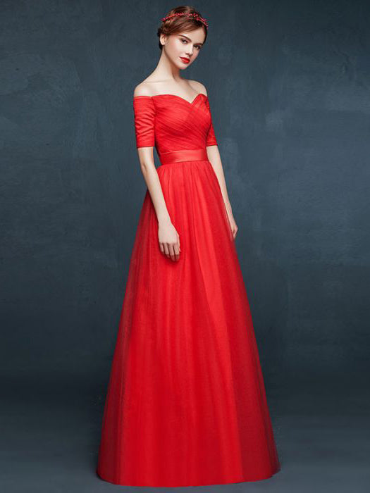 Chic A-line Off-the-shoulder Red Tulle Ruffles Simple Prom Dress Evening Dress AM492
