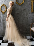 Chic Two Pieces A-line Scoop Gold Applique Modest Long Prom Dress Evening Dress AM493