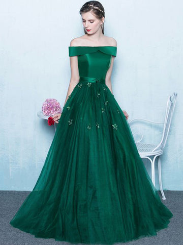 Chic A-line Hunter Long Prom Dress Off-the-shoulder Tulle Simple Evening Dress AM496