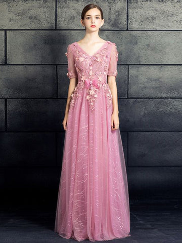 Chic A-line V-neck Long Prom Dress Pink Tulle Applique Modest Evening Gowns AM497