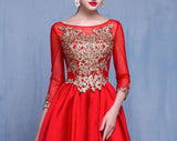 Chic A-line Bateau Long Prom Dress Red Satin Applique Modest Evening Gowns AM499
