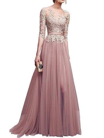 Chic A-line Bateau Tulle Applique Modest Prom Dress Evening Dress AM501