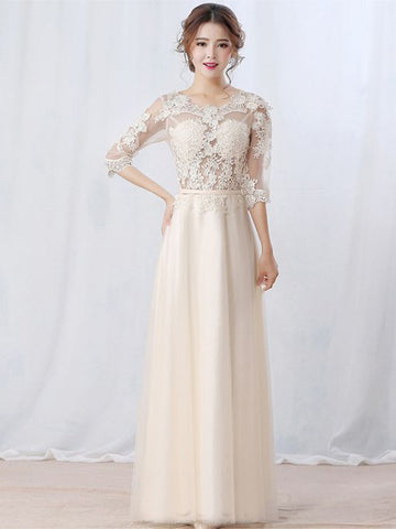 Chic A-line Scoop Tulle Applique Half Sleeve Modest Long Prom Dress Evening Dress AM502