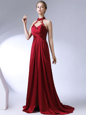 Chic A-line High Neck Elastic Woven Satin Applique Modest Long Prom Dress Evening Dress AM503