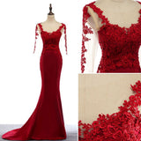 Chic Trumpet/Mermaid Scoop Red Satin Applique Modest Long Prom Dress Evening Dress AM505