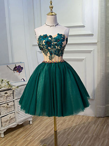 Chic A-line Sweetheart Modest Dark Green Modest Short Prom Dress Homecoming Dress AM506