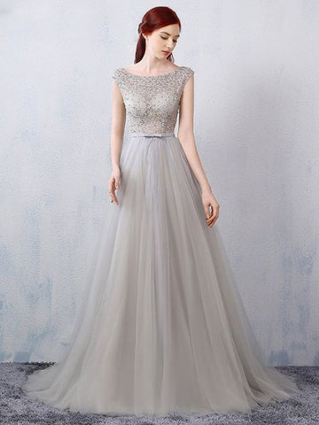 Chic A-line Silver Scoop Tulle Modest Beading Long Prom Dress Evening Dress AM509