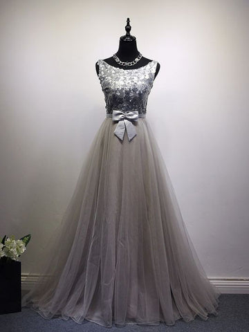 Chic A-line Scoop Tulle Modest Silver Sequins Long Prom Dress Evening Dress AM512