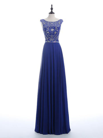 Chic A-line Scoop Chiffon Modest Royal Blue Beading Long Prom Dress Evening Dress AM513