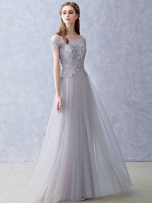 4fcc3000b8c Chic A-line Bateau Modest Silver Lace Beading Long Prom Dress Evening –  AmyProm