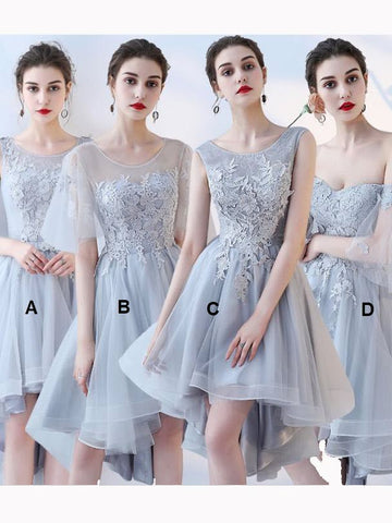 Chic A-line Asymmetrical Scoop Tulle Applique Modest Prom Dress Bridesmaid Dress AM516