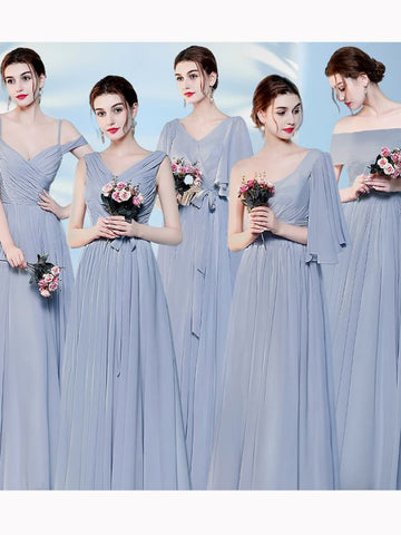 Chic A-line V-neck Chiffon Simple Modest Prom Dress Bridesmaid Dress AM517