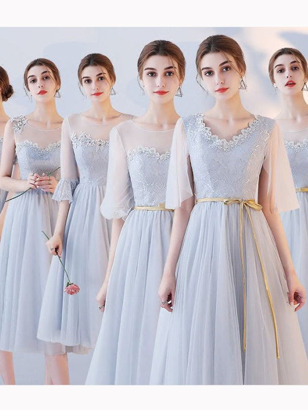 Chic A Line Scoop Tulle Lace Simple Modest Prom Dress Bridesmaid Dress Am518