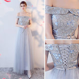 Chic A-line V-neck Tulle Applique Modest Long Prom Dress Bridesmaid Dress AM519