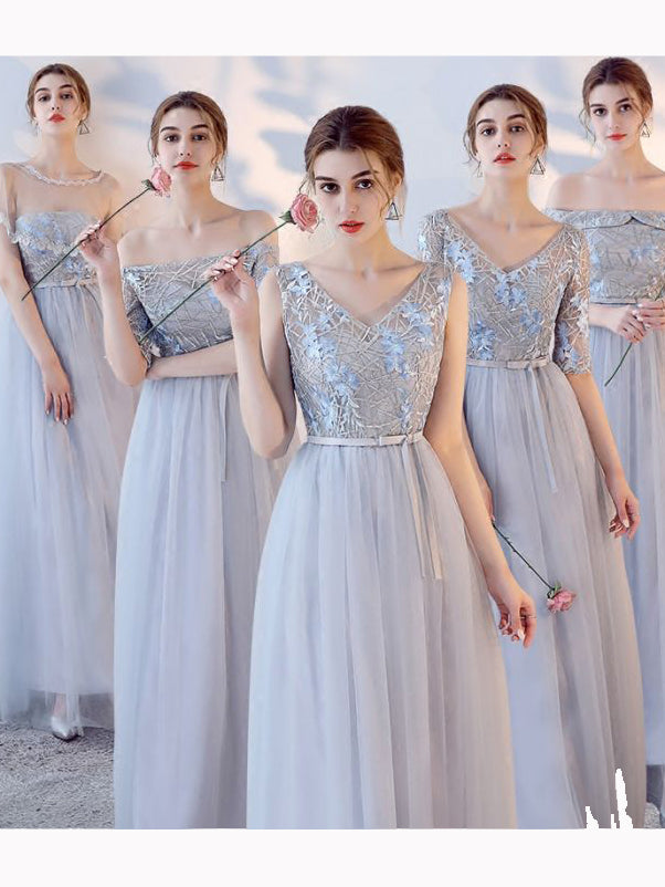1599ad3ddfb Chic A-line V-neck Tulle Applique Modest Long Prom Dress Bridesmaid Dress  AM519