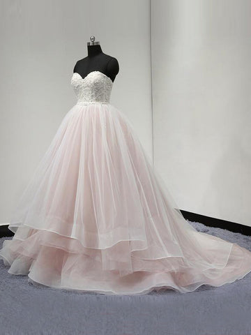 Chic A-line Ball Gowns Sweetheart Pink Organza Modest Long Bridal Dress Wedding Dress AM520