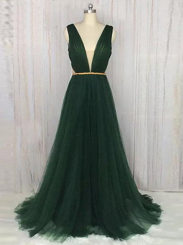 Chic A-line V-neck Dark Green Tulle Simple Long Prom Dress Evening Dress AM521