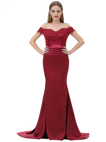 Chic Trumpet/Mermaid Off-the-shoulder Burgundy Satin Modest Long Prom Dress Evening Dress AM525