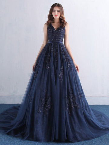 Chic A-line V-neck Dark Navy Applique Modest Long Prom Dress Evening Dress AM527